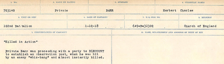 Circumstances of Death– Source: Library and Archives Canada.  CIRCUMSTANCES OF DEATH REGISTERS, FIRST WORLD WAR Surnames:  Bark to Bazinet. Mircoform Sequence 6; Volume Number 31829_B016716. Reference RG150, 1992-93/314, 150.  Page 351 of 1058.