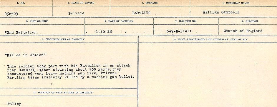 Circumstances of Death– Source: Library and Archives Canada.  CIRCUMSTANCES OF DEATH REGISTERS, FIRST WORLD WAR Surnames:  Bark to Bazinet. Mircoform Sequence 6; Volume Number 31829_B016716. Reference RG150, 1992-93/314, 150.  Page 631 of 1058.