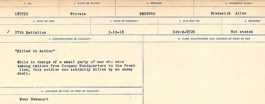 Circumstances of Death Registers– Source: Library and Archives Canada.  CIRCUMSTANCES OF DEATH REGISTERS FIRST WORLD WAR Surnames:  Bea to Belisle. Mircoform Sequence 7; Volume Number 31829_B016717. Reference RG150, 1992-93/314, 151.  Page 499 of 724.