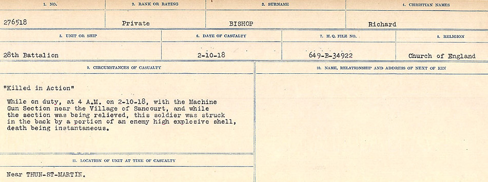 Circumstances of Death Registers– Source: Library and Archives Canada.  CIRCUMSTANCES OF DEATH REGISTERS FIRST WORLD WAR Surnames: Birch to Blakstad. Mircoform Sequence 10; Volume Number 31829_B034746; Reference RG150, 1992-93/314, 154 Page 231 of 734