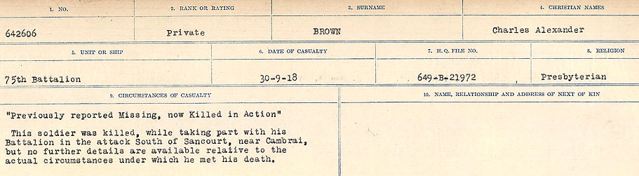 Circumstances of Death Registers– Source: Library and Archives Canada.  CIRCUMSTANCES OF DEATH REGISTERS FIRST WORLD WAR Surnames: Broad to Broyak. Mircoform Sequence 14; Volume Number 31829_B016723; Reference RG150, 1992-93/314, 158 Page 451 of 1128