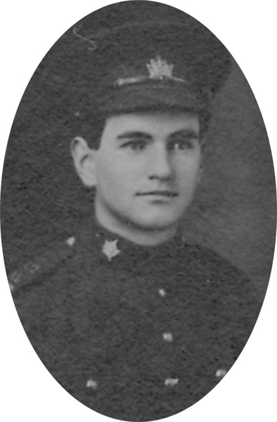Photo of CHARLES ALEXANDER BROWN– From a collage photo layout of members of A Company and the bugle band of the 157th Canadian Infantry Battalion.