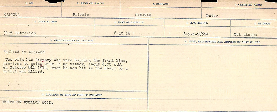 Circumstances of Death Registers– Source: Library and Archives Canada.  CIRCUMSTANCES OF DEATH REGISTERS, FIRST WORLD WAR Surnames:  Canavan to Caswell. Microform Sequence 18; Volume Number 31829_B016727. Reference RG150, 1992-93/314, 162.  Page 5 of 1004.