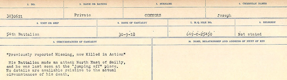 Photo of JOSEPH CONNORS– Source: Library and Archives Canada.  CIRCUMSTANCES OF DEATH REGISTERS, FIRST WORLD WAR Surnames:  CONNON TO CORBETT.  Microform Sequence 22; Volume Number 31829_B016731. Reference RG150, 1992-93/314, 166.  Page 39 of 818.
