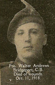 Photo of Walter Andrews– From the book, Catholics of the Diocese of Antigonish, Nova Scotia and the Great War 1914- 1919.