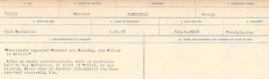 Circumstances of Death Registers– Source: Library and Archives Canada.  CIRCUMSTANCES OF DEATH REGISTERS, FIRST WORLD WAR Surnames:  Canavan to Caswell. Microform Sequence 18; Volume Number 31829_B016727. Reference RG150, 1992-93/314, 162.  Page 361 of 1004.