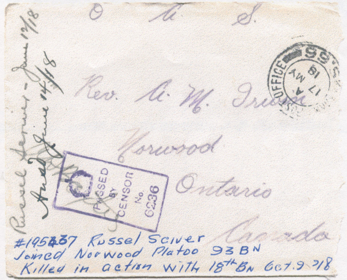 Document– Envelope of letter to Reverend Arthur Mansell Iwrin of Nowood, Ontario. From the VIU Canadian Letters and Images Project.