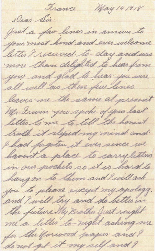Letter– Page 1 of a letter to Reverend Arthur Mansell Iwrin of Nowood, Ontario from Pte. R. Scriver. From the VIU Canadian Letters and Images Project.