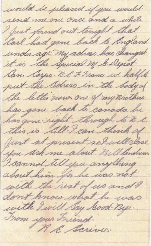 Letter– Page 2 of a letter to Reverend Arthur Mansell Iwrin of Nowood, Ontario from Pte. R. Scriver. From the VIU Canadian Letters and Images Project.