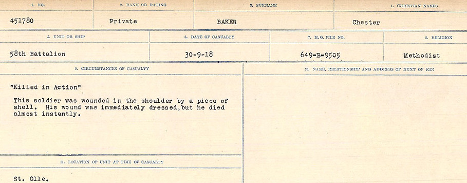 Circumstances of Death Registers– Source: Library and Archives Canada.  CIRCUMSTANCES OF DEATH REGISTERS, FIRST WORLD WAR Surnames:  Babb to Barjarow. Microform Sequence 5; Volume Number 31829_B016715. Reference RG150, 1992-93/314, 149.  Page 433 of 1072.