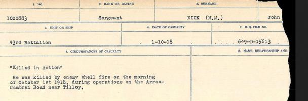 Circumstances of death registers– Source: Library and Archives Canada. CIRCUMSTANCES OF DEATH REGISTERS, FIRST WORLD WAR. Surnames: Deuel to Domoney. Microform Sequence 28; Volume Number 31829_B016737. Reference RG150, 1992-93/314, 172. Page 247 of 1084.