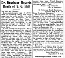"""Newspaper clipping– Bracebridge Gazette 14-Nov-1918  Pittsburgh's Prof. John A. Brashear, self-taught astronomer, telescope inventor and philanthropist, hosted Sydney G. Hill at his summer residence on Lake Muskoka's Urania Island.  Brashear's favourite quote: """"I have loved the stars too fondly to be fearful of the night."""""""