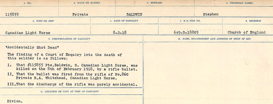 Circumstances of Death Registers– Source: Library and Archives Canada.  CIRCUMSTANCES OF DEATH REGISTERS, FIRST WORLD WAR Surnames:  Babb to Barjarow. Microform Sequence 5; Volume Number 31829_B016715. Reference RG150, 1992-93/314, 149.  Page 629 of 1072.