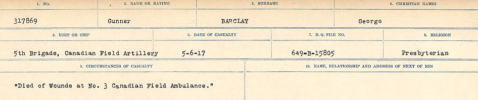 Circumstances of Death Registers– Source: Library and Archives Canada.  CIRCUMSTANCES OF DEATH REGISTERS, FIRST WORLD WAR Surnames:  Babb to Barjarow. Microform Sequence 5; Volume Number 31829_B016715. Reference RG150, 1992-93/314, 149.  Page 1001 of 1072