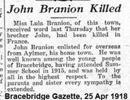 Newspaper clipping– Bracebridge Gazette 25-Apr-1918