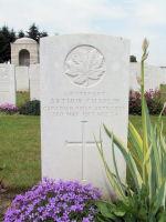 Grave Marker– Arthur's grave marker at La Targette British Cemetery