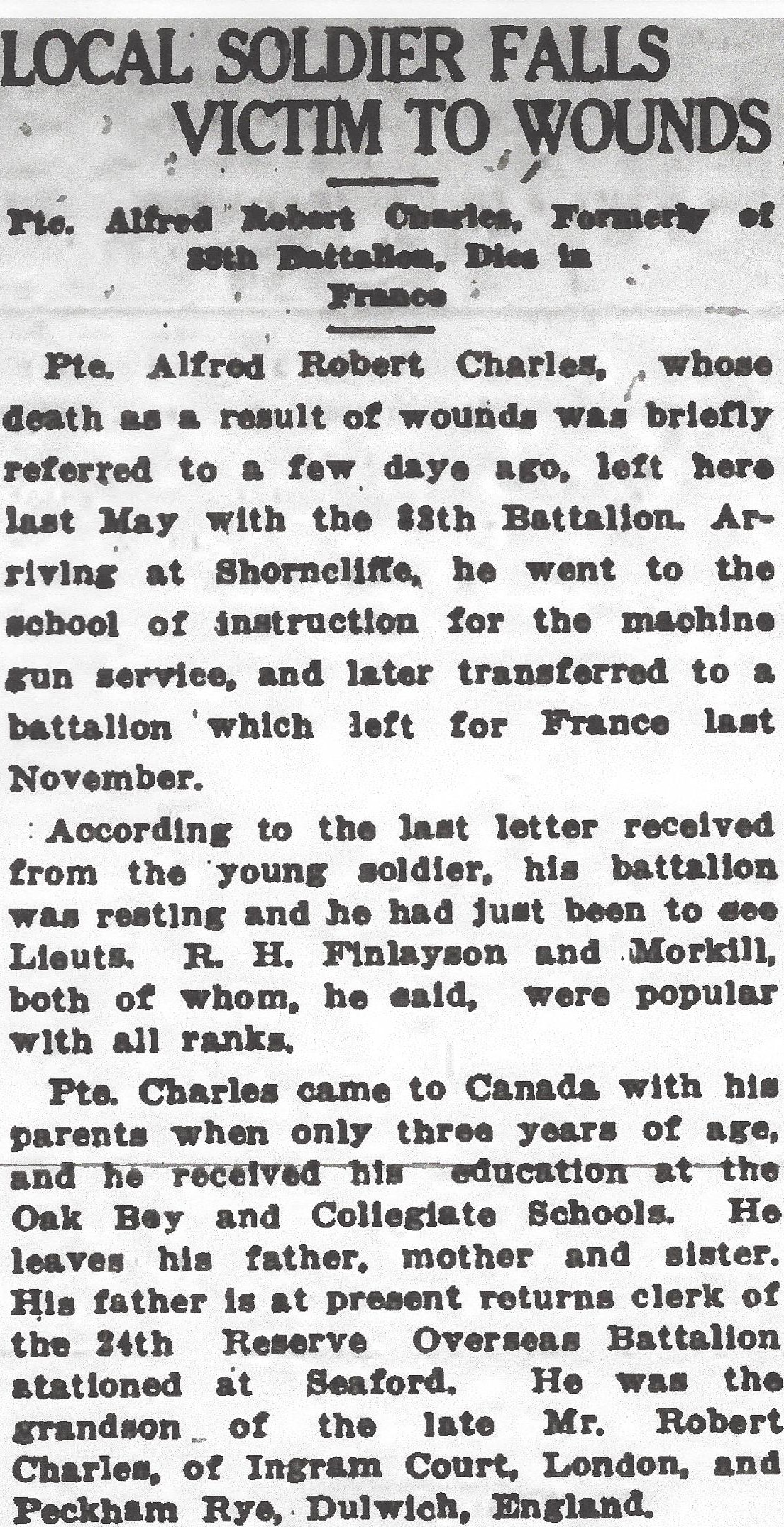 Newspaper clipping– From the Daily Colonist of May 6, 1917. Image taken from web address of http://archive.org/stream/dailycolonist59y127uvic#page/n0/mode/1up