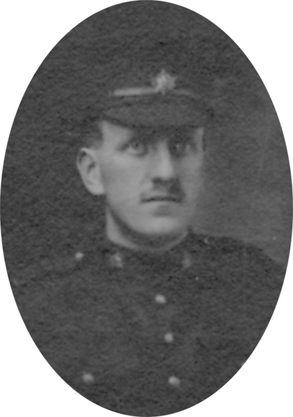 Photo of JACK CRICHTON– From a collage photo layout of members of A Company and the bugle band of the 157th Canadian Infantry Battalion.