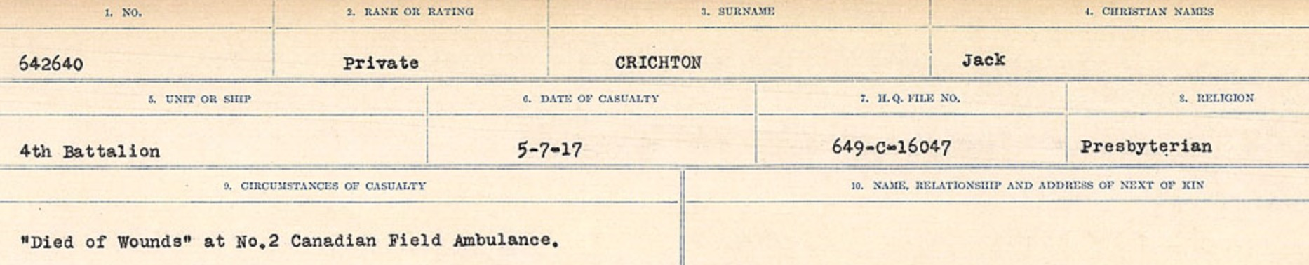 Circumstances of death registers– Source: Library and Archives Canada. CIRCUMSTANCES OF DEATH REGISTERS, FIRST WORLD WAR Surnames: CRABB TO CROSSLAND Microform Sequence 24; Volume Number 31829_B016733. Reference RG150, 1992-93/314, 168. Page 511 of 788.