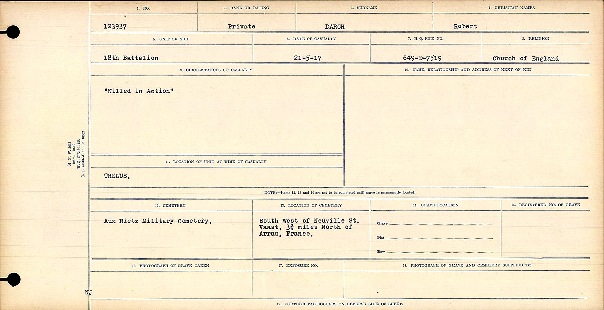 """Circumstances of Death Registers– """"Killed in Action"""" Title:Circumstances of Death Registers, First World War Mikan record:46246 Volume Number:31829_B016735 Page:1 Number of pages:1140 Contributed by E.Edwards www.18thbattalioncef.wordpress.com"""
