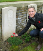 Paying Respects– Kristen Smith, visits the grave of her great-great uncle, Jimmy Morrison, during a pilgrimmage to commemorate the 95th anniversary of the Battle at Vimy Ridge