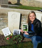 Paying respects– Visiting my great great uncle for the second time. At his grave, I left a military photo of him that was taken before the war, a photo of my grandfather visiting his grave, and a poppy cross.