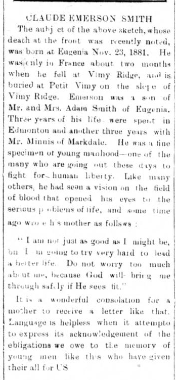 Newspaper Clipping– Remembered on the pages of the Flesherton Advance. Submitted for the project, Operation Picture Me