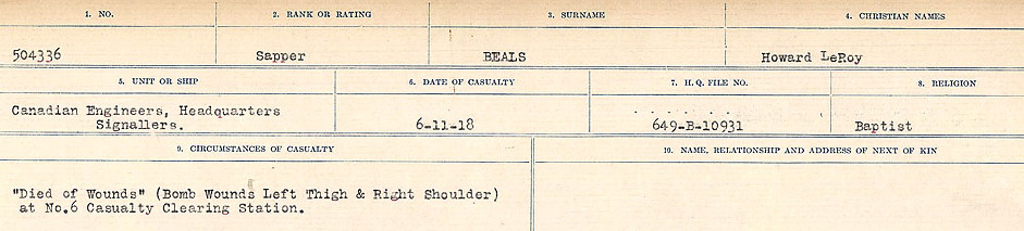 Circumstances of Death– Source: Library and Archives Canada.  CIRCUMSTANCES OF DEATH REGISTERS FIRST WORLD WAR Surnames:  Bea to Belisle  Mircoform Sequence 7; Volume Number 31829_B016717. Reference RG150, 1992-93/314, 151.  Page 67 of 724.