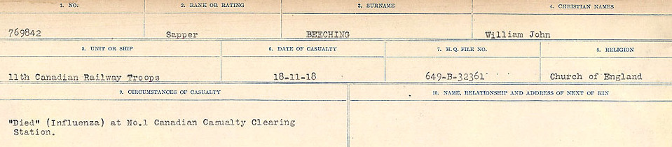 Circumstances of Death Registers– Source: Library and Archives Canada.  CIRCUMSTANCES OF DEATH REGISTERS FIRST WORLD WAR Surnames:  Bea to Belisle. Mircoform Sequence 7; Volume Number 31829_B016717. Reference RG150, 1992-93/314, 151.  Page 537 of 724.