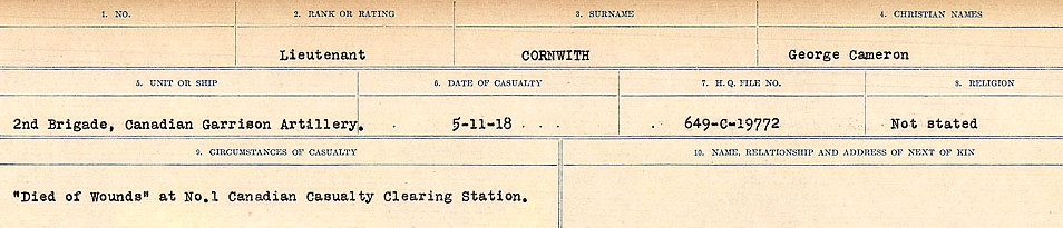 Circumstances of Death Registers– Source: Library and Archives Canada.  CIRCUMSTANCES OF DEATH REGISTERS, FIRST WORLD WAR Surnames:  CORBI TO COZNI.  Microform Sequence 23; Volume Number 31829_B016732. Reference RG150, 1992-93/314, 167.  Page 189 of 900.