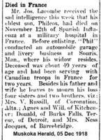 Coupure de presse – Muskoka Herald le 5 décembre1918