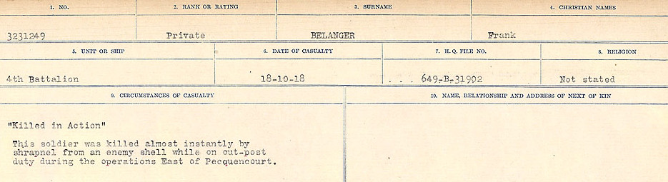 Circumstances of Death Registers– Source: Library and Archives Canada.  CIRCUMSTANCES OF DEATH REGISTERS FIRST WORLD WAR Surnames:  Bea to Belisle. Mircoform Sequence 7; Volume Number 31829_B016717. Reference RG150, 1992-93/314, 151.  Page 639 of 724.