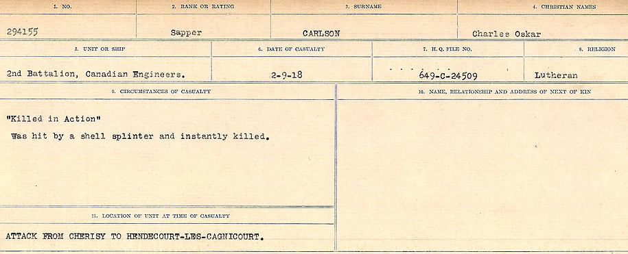 Circumstances of Death Registers– Source: Library and Archives Canada.  CIRCUMSTANCES OF DEATH REGISTERS, FIRST WORLD WAR Surnames:  Canavan to Caswell. Microform Sequence 18; Volume Number 31829_B016727. Reference RG150, 1992-93/314, 162.  Page 269 of 1004.