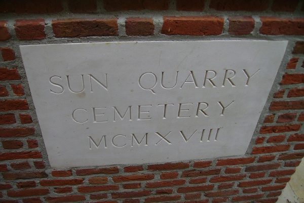 Entrance– Sun Quarry Cemetery … photo courtesy of Marg Liessens