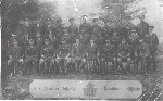 Group Photo 161 Battalion– Officers of the 161st Battalion, C.E.F., in England, probably 1916. J.L.Evans is on front row, at right.