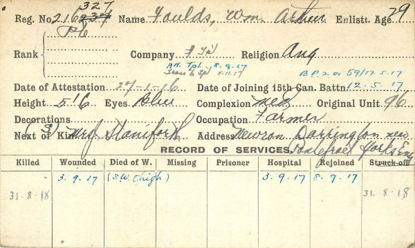Record of Service Card (Front)