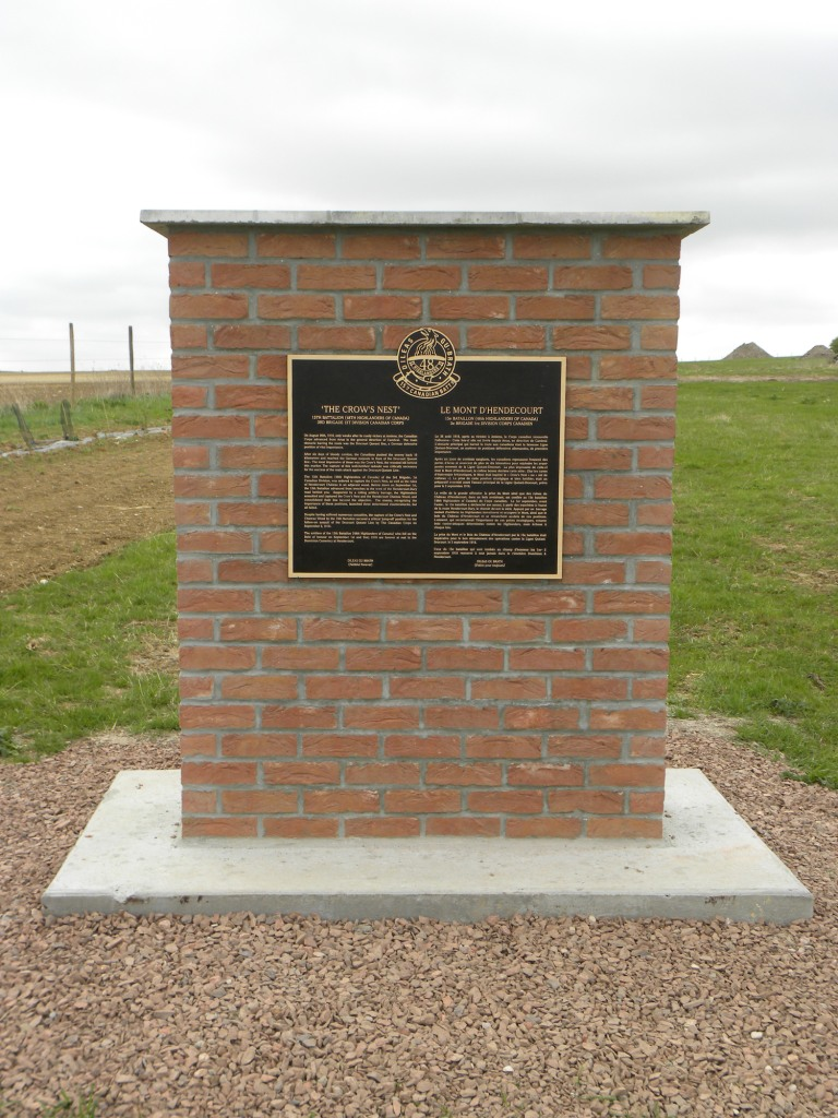 Memorial– Memorial at the Crow's Nest honouring actions 31 Aug - 2 Sep 1918.  Submitted by 15th Bn Memorial Project Team.  DILEAS GU BRATH