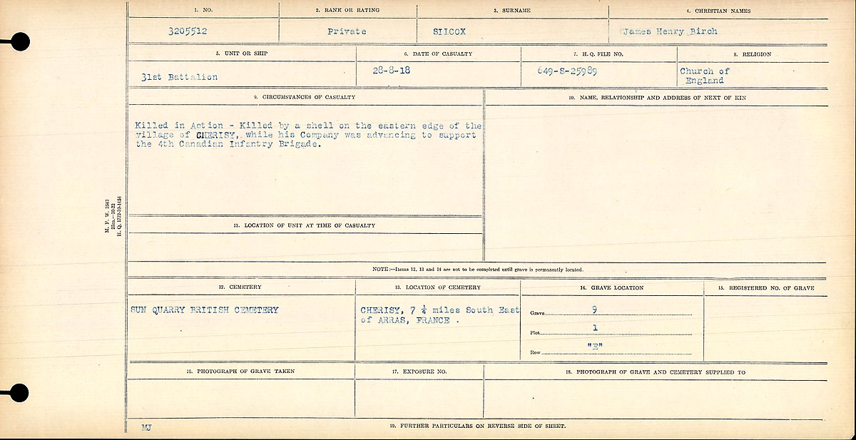 Circumstances of Death Registers– Private James Henry Birch Silcox
