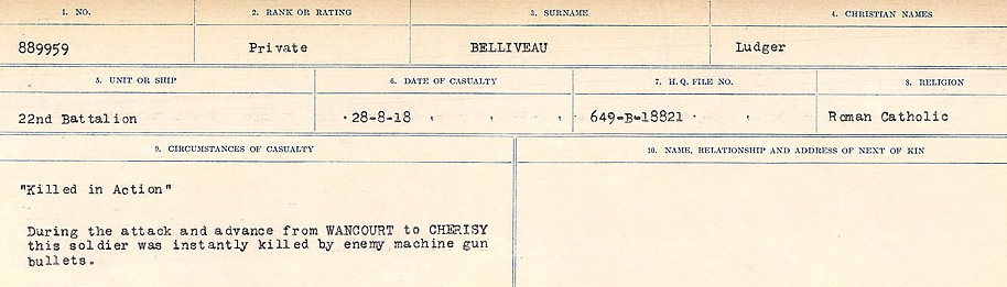 Circumstances of Death– Source: Library and Archives Canada.  CIRCUMSTANCES OF DEATH REGISTERS FIRST WORLD WAR Surnames:  Bell to Bernaquez.  Mircoform Sequence 8; Volume Number 31829_B016718; Reference RG150, 1992-93/314, 152 Page 291 of 670.