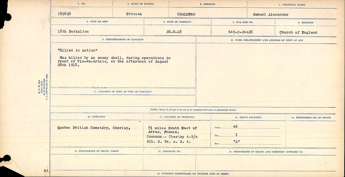"""Circumstances of Death Registers– Circumstances of Death Register. Mikan record:46246 Volume Number:31829_B016728 Page:1 Number of pages:958 Contributed by E.Edwards www.18thbattalioncef.wordpress.com  """"Killed in Action"""" Was killed by an enemy shell, during operations in front of Vis-en-Artois, on the afternoon of August 28, 1918."""