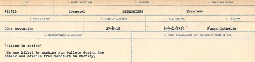 Circumstances of death registers– Source: Library and Archives Canada. CIRCUMSTANCES OF DEATH REGISTERS, FIRST WORLD WAR. Surnames: Davy to Detro. Microform Sequence 27; Volume Number 31829_B016736. Reference RG150, 1992-93/314, 171. Page 1013 of 1036.
