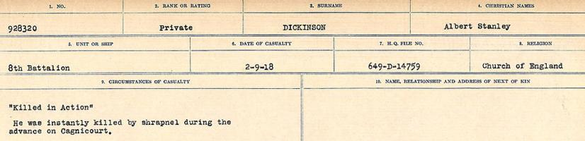 Circumstances of death registers– Source: Library and Archives Canada. CIRCUMSTANCES OF DEATH REGISTERS, FIRST WORLD WAR. Surnames: Deuel to Domoney. Microform Sequence 28; Volume Number 31829_B016737. Reference RG150, 1992-93/314, 172. Page 323 of 1084.