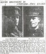 Photo of Albert Lloyd (left)– Seven Brothers in Uniform - Two Killed