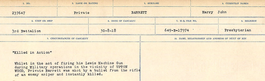 Circumstances of Death– Source: Library and Archives Canada.  CIRCUMSTANCES OF DEATH REGISTERS, FIRST WORLD WAR Surnames:  Bark to Bazinet. Mircoform Sequence 6; Volume Number 31829_B016716. Reference RG150, 1992-93/314, 150.  Page 431 of 1058.