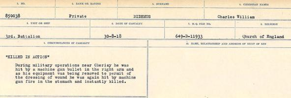 Circumstances of death registers– Source: Library and Archives Canada. CIRCUMSTANCES OF DEATH REGISTERS, FIRST WORLD WAR. Surnames: Deuel to Domoney. Microform Sequence 28; Volume Number 31829_B016737. Reference RG150, 1992-93/314, 172. Page 435 of 1084.