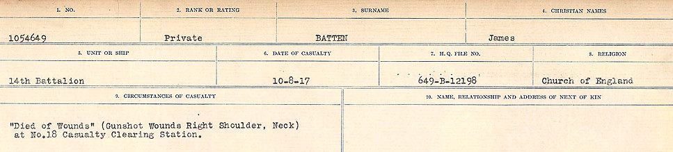 Circumstances of Death Registers– Source: Library and Archives Canada.  CIRCUMSTANCES OF DEATH REGISTERS, FIRST WORLD WAR Surnames:  Bark to Bazinet. Mircoform Sequence 6; Volume Number 31829_B016716. Reference RG150, 1992-93/314, 150.  Page 899 of 1058.