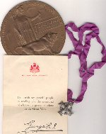 Silver Cross– Uncle George's Silver Cross and Medal sent to his Parent's from King George.