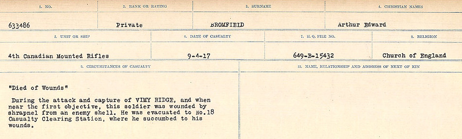 Circumstances of Death Registers– Source: Library and Archives Canada.  CIRCUMSTANCES OF DEATH REGISTERS FIRST WORLD WAR Surnames: Broad to Broyak. Mircoform Sequence 14; Volume Number 31829_B016723; Reference RG150, 1992-93/314, 158 Page 147 of 1128