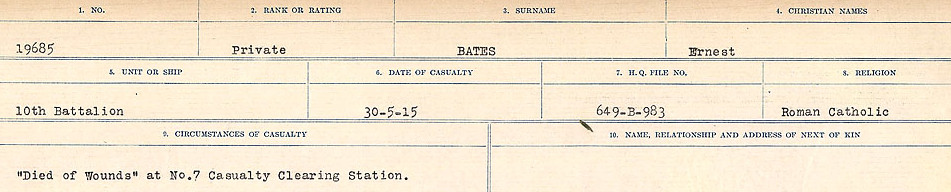 Circumstances of Death– Source: Library and Archives Canada.  CIRCUMSTANCES OF DEATH REGISTERS, FIRST WORLD WAR Surnames:  Bark to Bazinet. Mircoform Sequence 6; Volume Number 31829_B016716. Reference RG150, 1992-93/314, 150.  Page 835 of 1058. His real name was Holmes Hargreaves