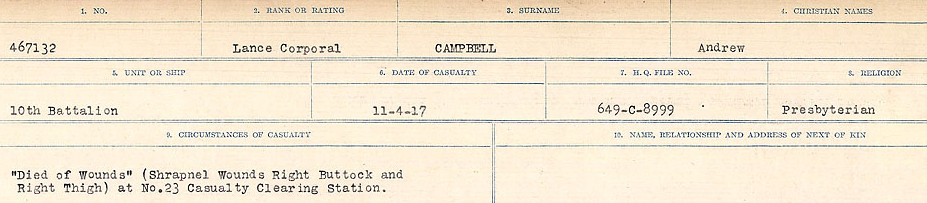 Circumstances of Death Registers– Source: Library and Archives Canada.  CIRCUMSTANCES OF DEATH REGISTERS, FIRST WORLD WAR Surnames:  Cabana to Campling. Microform Sequence 17; Volume Number 31829_B016726. Reference RG150, 1992-93/314, 161.  Page 557 of 1024.
